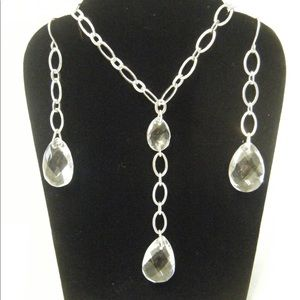 Oval Link Faceted Tear Drop Gift Set Silverstone
